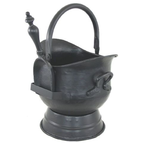 Black Iron Metal Fireside Coal & Kindling Bucket & Shovel